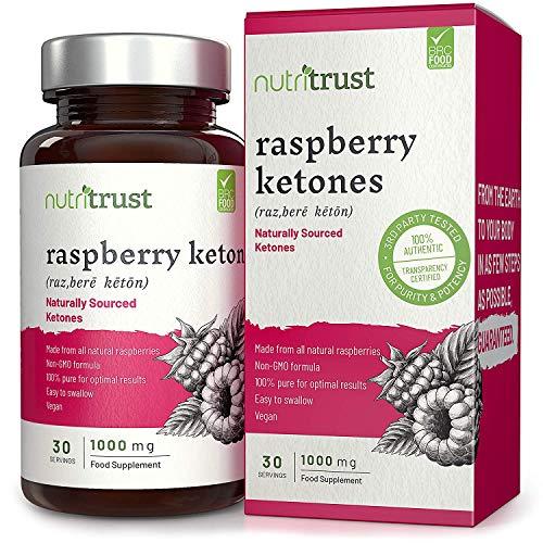 Raspberry Ketone 1000mg Kapseln von Nutritrust® - natürliche Himbeer Ketone aus echten Himbeeren - vegan und gentechnikfrei - leicht zu schluckende Kapseln für Männer und Frauen - GMP zertifiziert.