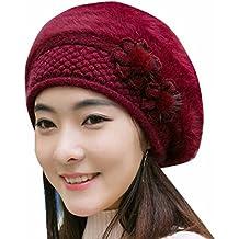 DAYLIN 1PC Womens Fashion Flower Knit Crochet Beanie Hat Winter Warm Cap Beret
