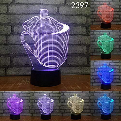 3D Stimmungslicht 3D Illusion Lampe Feuerzeug Vase Tasse Abstrakt 3D Led Nachtlampe Laser Acryl Stereo Illusion Farben Fern Kinder Freunde Geschenk Spielzeug Geschenk-Cc