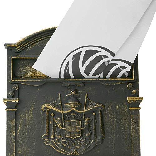 PrimeMatik – Briefkasten Postkasten Retro Antik Vintage metallische Schwarze Oxid für wallmount - 6