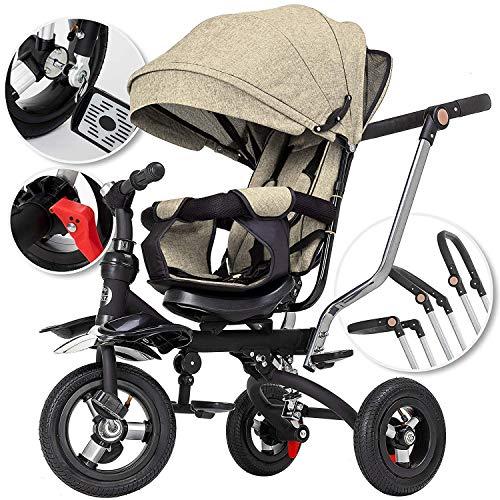 5in1 Dreirad Kinderdreirad Kinder Fahrrad Rad ✔Kinderwagen mit lenkbarer Schubstange ✔klappbares, ✔flüsterleise Gummireifen und Sonnendach, ✔5-fach Umbau ✔mitwachsend Beige