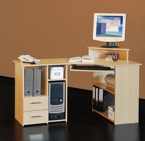 Eck-Schreibtisch Bürotisch PC-Tisch Computertisch - Links-Version - 137 cm - verschiedene Farben (buche)