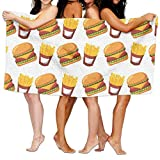 apnzll Oversized Microfiber Beach Towel Blanket,Hamburger and French Fries Fast Food,Super Absorbent Bath Towel for Outdoor Camping Sports Travels Quick Drying 30
