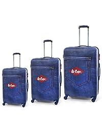 Lee Cooper Set de 3 maletas rígida ABS & policarbonato 4 ruedas 49 – 59 – 69 cm) Denim Negro