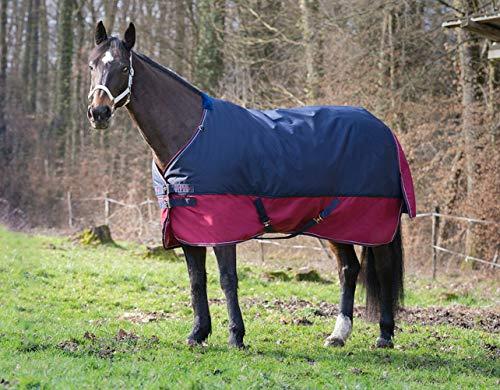 Amesbichler Outdoordecke Equitheme TYREX 1200 D Equi-Theme 50g Füllung wasserdicht dunkelblau/weinrot mit Kreuzgurten, 145 cm | Pferdedecke
