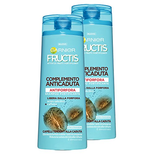 Garnier Fructis Shampoo Antiforfora Complemento Anticaduta per Capelli Tendenti alla Caduta - Confezione da 2 Unità