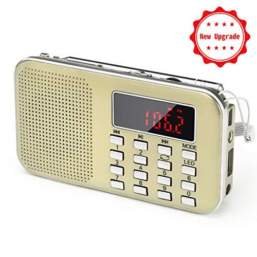 Mini Radio AM FM Haut-Parleur Lecteur de Musique MP3 Support Carte TF / Disque USB PRUNUS avec Fonction rechargeable et Lampe-torche de secours