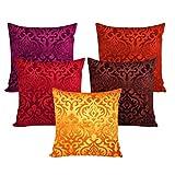 #8: MSenterprises Set of 5 Velvet Cushion Covers 30X30 cm (12X12)