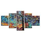 Lucellgh Quadro Multipannello Albero Dipinto Ad Olio Stampa Tela Immagini Moderni Murale Fotografia Grafica Decorazione da Parete 5 Pezzi 150Cmx80Cm
