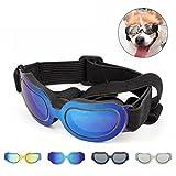 PETCUTE Occhiali da Sole per Cani Impermeabili Occhiali per Cani di Piccola Taglia Medi o Gatti Protezione UV Leggera Pieghevole