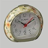 Reloj despertador de Wm. Widdop, con diseño de flores, color amarillo