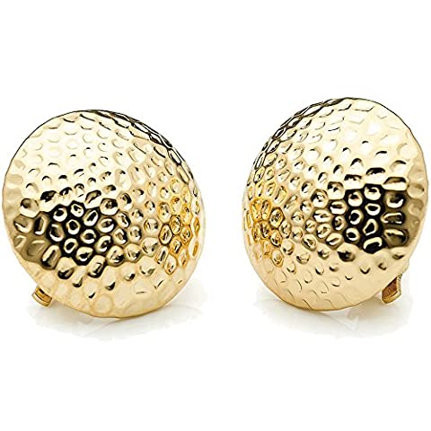 Chunky 2.5 cm fashion textured domed gold plated clip on earring costume jewellery