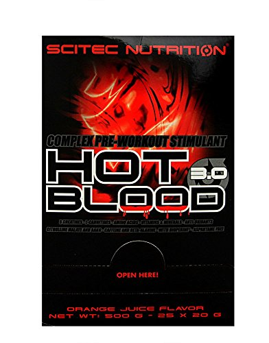 Scitec nutrition - hot blood 3.0 - scatola di 25 bustine - guaraná blu