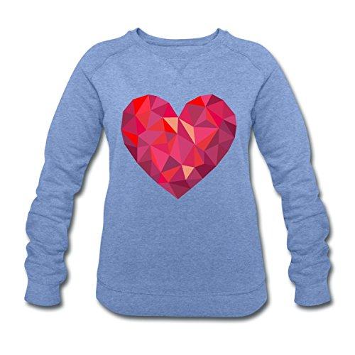 Saint-Valentin Cœur Géométrique Low Poly Sweat-shirt Femme Stanley & Stella de Spreadshirt® bleu chiné