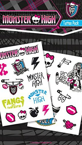 1art1 64217 Monster High - Reißzähne Sind Fantastisch, 19 Tattoos Tattoo Pack 17 x 10 cm