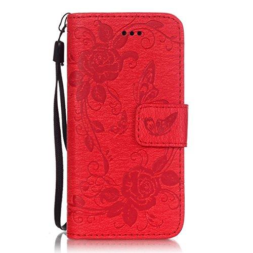 iPhone 5S Hülle, iPhone SE Hülle, Lifeturt [ Rot ] Luxus PU Leder Brieftasche Flip Case Cover Schütz Hülle Abdeckung Ledertasche mit Standfunktion Karteneinschub und Magnetverschluß Etui Flip Case für E02-Rot
