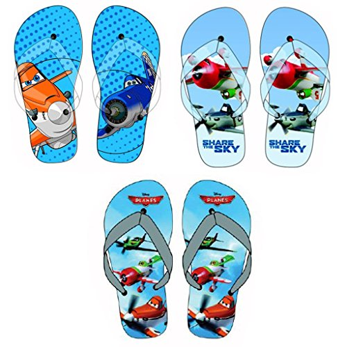 Disney pixar planes flip flops bleu, bleu, gris/bleu à pois taille 28, 30 32, 34 Bleu - Bleu