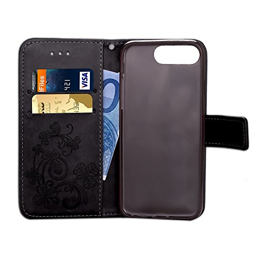 iPhone 7 Plus Hülle,Leder Hülle für iPhone 7 Plus,iPhone 7 Plus Schwarz Leder Handy Tasche Wallet Case [Heavy Duty] [Hinterbauständer Feature] Cover Etui für iPhone 7 Plus 5.5 Zoll 2016,EMAXELERS iPho A Clover 6