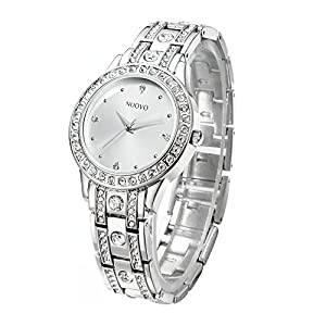 NUOVO Women Quartz Watches Diamond with Silver Stainless Steel Bracelet and Analogue Display