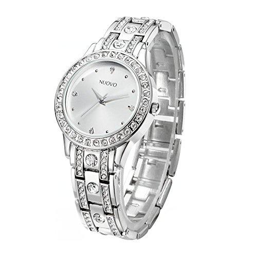 Nuovo Orologio da Donna Argento,Bracciale in Acciaio Inossidabile Diamante