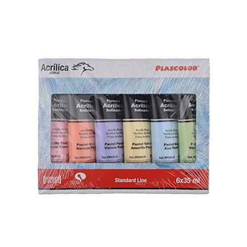 Plascolor PP182 - Pack de 6 tubos de pintura acrílica, multicolor