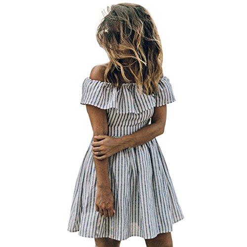 Bekleidung Longra Damen gestreift lässige Kurzarm Schulterfrei Abfluss zurück Abend Party Kleid Strand Mini-Kleid Sommer Kleid White