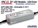 Schaltnetzteil GLP GPF-40D-700, 700 mA, 36-60 VDC, 42 Watt, dimmbar, IP67