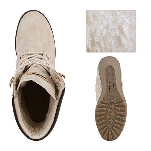 04a6ef738ef883 Gefütterte Damen Stiefeletten Keilabsatz Boots Profilsohle Creme Gefütterte  Damen Stiefeletten Keilabsatz Boots Profilsohle Creme