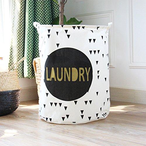Inwagui Klapp-Runde Baumwolle Wäschekorb Haushalt Organizer Korb Wäschesammler Wäschetasche für ihre Schmutzwäsche - Große(Laundry)