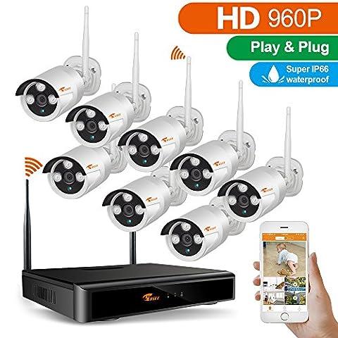 CORSEE Plug&Play Video Drahtloses Überwachungssystem,8 Kanal 960P NVR HD 1.3MP Funk Überwachungsset WLAN Outdoor Netzwerk Außen IP Überwachungskamera, Kabellos, Handy-View, Bewegungsmelder