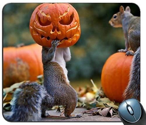 Mauspad Gaming Maus Matte Gel-Gummi für PC, Halloween Eichhörnchen Kürbis Maske 97728 Personalisierte Rechteck Mauspad, Gedruckt Rutschfeste Gummi Komfortable Customized Computer Mouse Pad