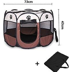 Wiiguda@Gran parque para animales para dentro o afuera, fácil de montar, Parque Mascota de Juego Entrenamiento Dormitorio, Parque para cachorros recinto parque para animales perros gatos, tamaño M: 73X73X43cm.