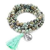 mala perlen Armband, buddhistische gebetsperlen, Lappen Armband, Buddha weniger Mich erklärung Halskette (afrikanische türkis)