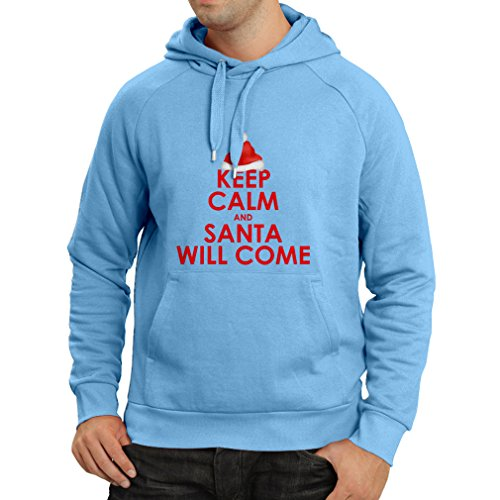 Felpa con cappuccio Keep Calm and Santa will Come, Holiday clothes and Christmas vacation outfits Azzulo Multicolore