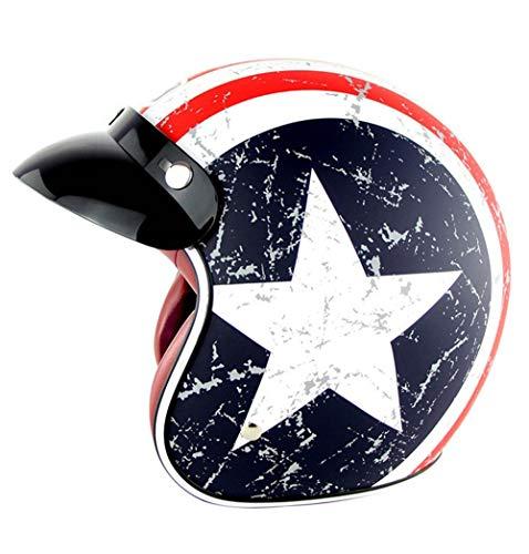 YOJDTD Casco elmetto casco aperto casco integrale casco integrale moto retrò casco Harley Knight classico mezzo casco, Capitan America_XXL