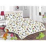 SASA CRAZE Kid's Dinosaur Duvet Cover Bed Set Inc. Pillowcase (Double, Dino Duvet)