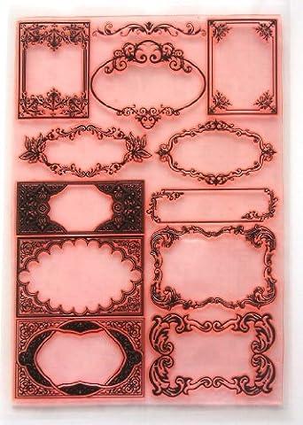 Damask Borders and Frames (7x10) Clear Stamps Large Sheet / Retro, Vintage, Art Nouveau, Damask by Flonz