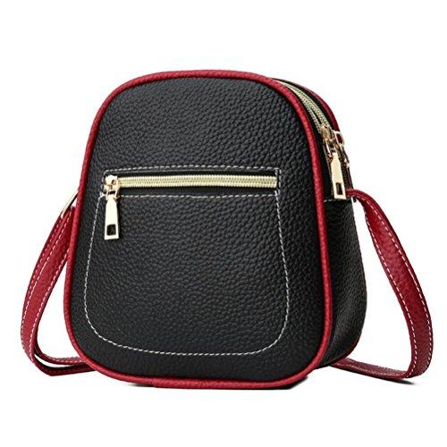 UFACE Vintage Damen Kontrast ReißVerschluss Schulter Messenger Bag Handytasche Frauen Hit Farbe Leder Crossbody Tasche Schultertasche (Schwarz)
