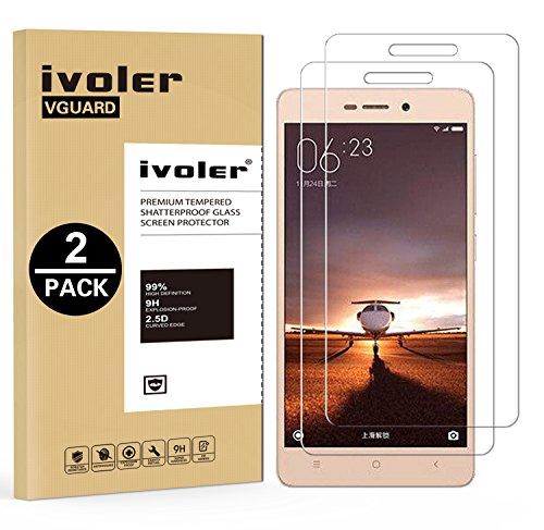 iVoler [2 Unidades] Protector de Pantalla para Xiaomi Redmi 3 / Xiaomi Redmi 3S / Xiaomi Redmi 3 Pro, Cristal Vidrio Templado Premium [9H Dureza] [Ultra Fina 0,3mm] [2.5D Round Edge]