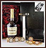 Geschenk Set Cognac Hennessy VS mit DreiMeister Edel Schokoladen und Flaschenportionierer im edlen Geschenk Karton kostenloser Versand