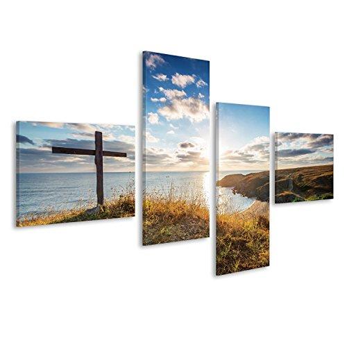 Cuadro Cuadros Cruz cristiana en una playa con un hermoso amanecer Impresión sobre lienzo - Formato Grande - Cuadros modernos