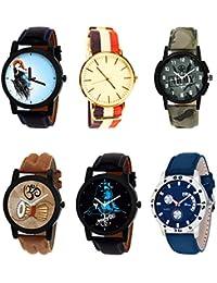 NIKOLA Treading 3D Design Mahadev Army Damru Black Blue And Brown Color 6 Watch Combo (B22-B50-B21-B25-B23-B56...