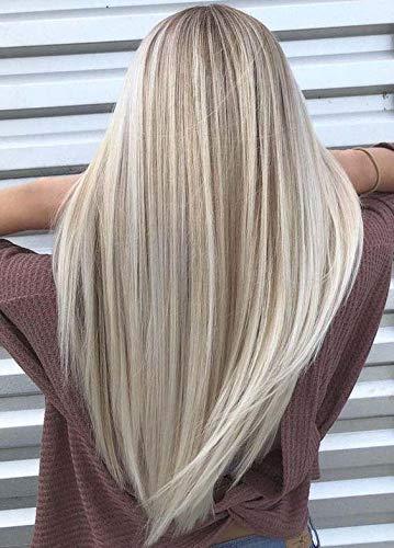 LaaVoo 60cm Kleine Peruckenkappe Extensions mit Gummiband 150% Glueless Lace Front Wig Free Part Peruvian Hair Wigs Aschblond Highlights Gebleichtes Blond #P18/613
