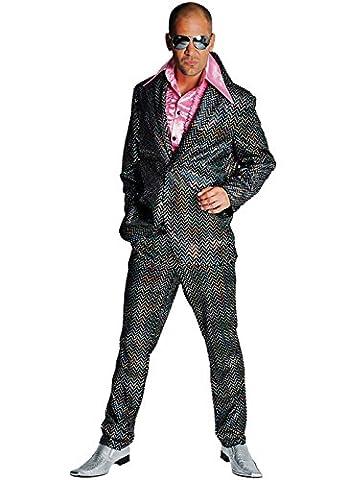 Disco Anzug Glitter Partyanzug Herren 80er Jahre Saturday Night schwarz (X-Large) (80 Anzug Kostüm)