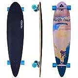Hengda® 44' Longboard 9 Lagen Ahornholz Board Rollen 63x50mm Cruiserboard Skateboard Komplettboard ABEC 7 Kugellager 112cm (Skateboard Pacific Coast Surfer)