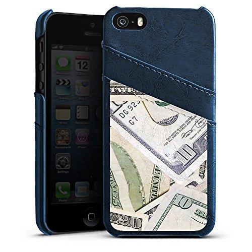 Apple iPhone 5 Housse Étui Silicone Coque Protection Argent Dollar Billets Étui en cuir bleu marine
