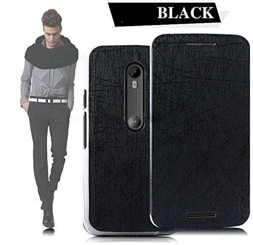 Tarkan Pudini PU Leather Slim Flip Cover Case with Convertible Back Stand for Moto G 3rd Generation (Black)  available at amazon for Rs.225