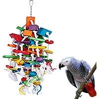 KINTOR Bird Mastication Grand Medium–Jouet Perroquet Cage Bite Toys Gris du Gabon Aras Cacatoès Éclectus Amazon, Gris/Bleu