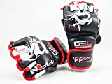 M.A.R International Ltd echtes Leder Open Finger Open Palm MMA ULTIMATE FIGHTING Handschuhe Muay Thai Power Data Grapple & Strike Handschuhe Wettbewerb Handschuhe Gym fiitness Supplies Sparring Gear, schwarz / rot