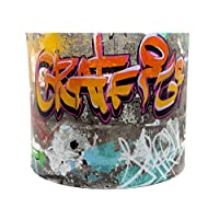 "Graffiti Lampshade or Ceiling Light Shade 10"" DRUM shade Boys Girls Teens Grafitti Urban Hip Hop Skate Park Skateboard Themed Room Bedroom Accessories"